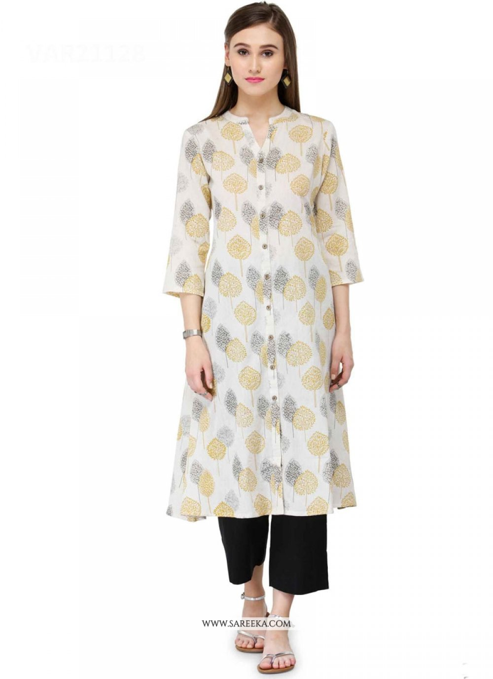Print Work Off White Party Wear Kurti