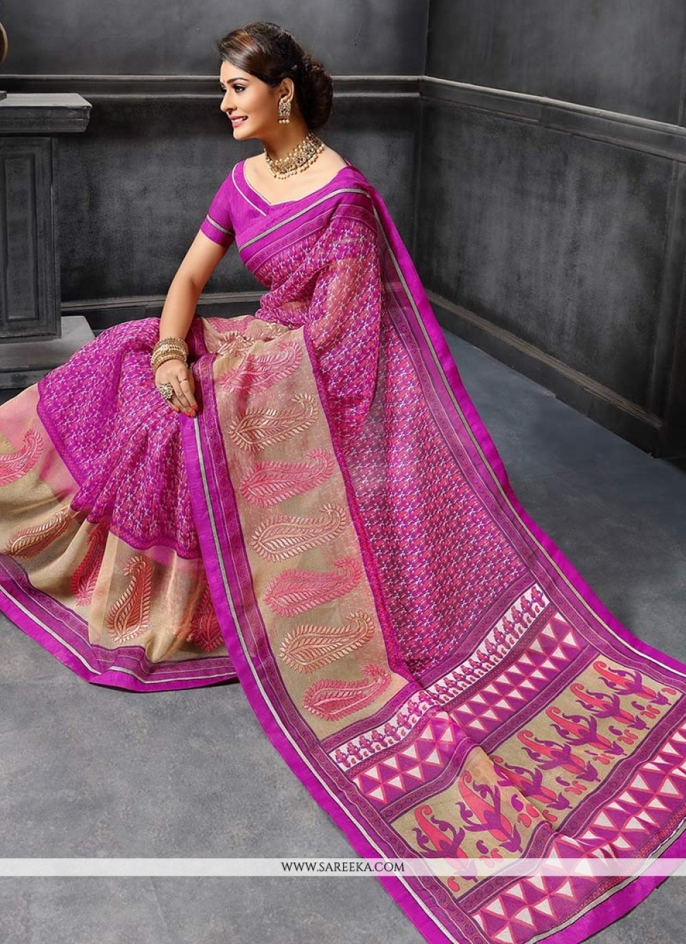 Print Work Purple Traditional  Saree
