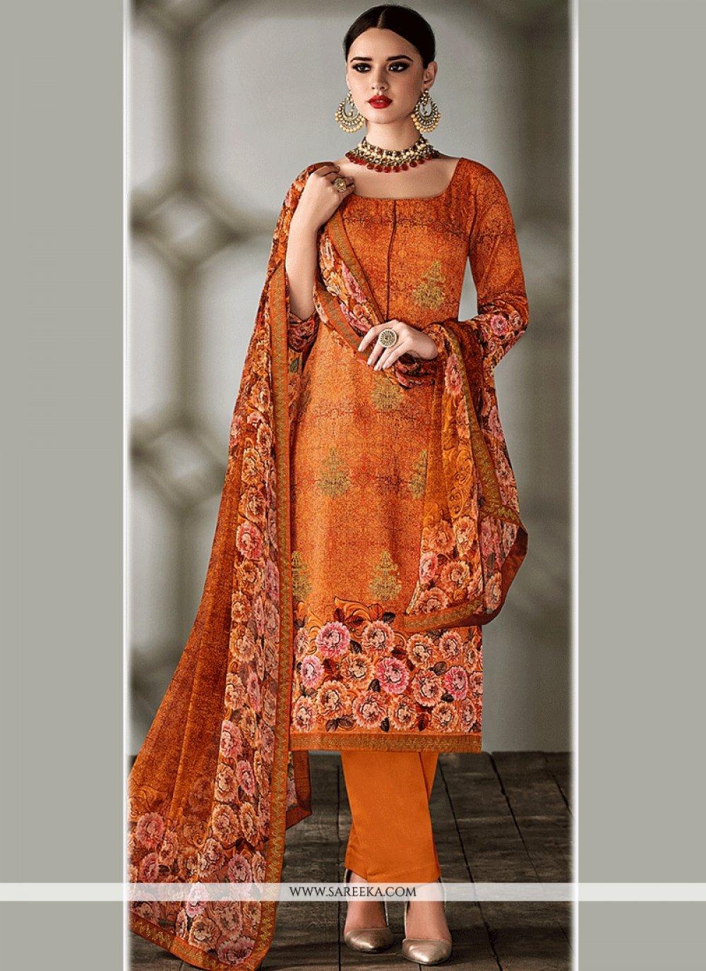 Print Work Tussar Silk Designer Straight Suit