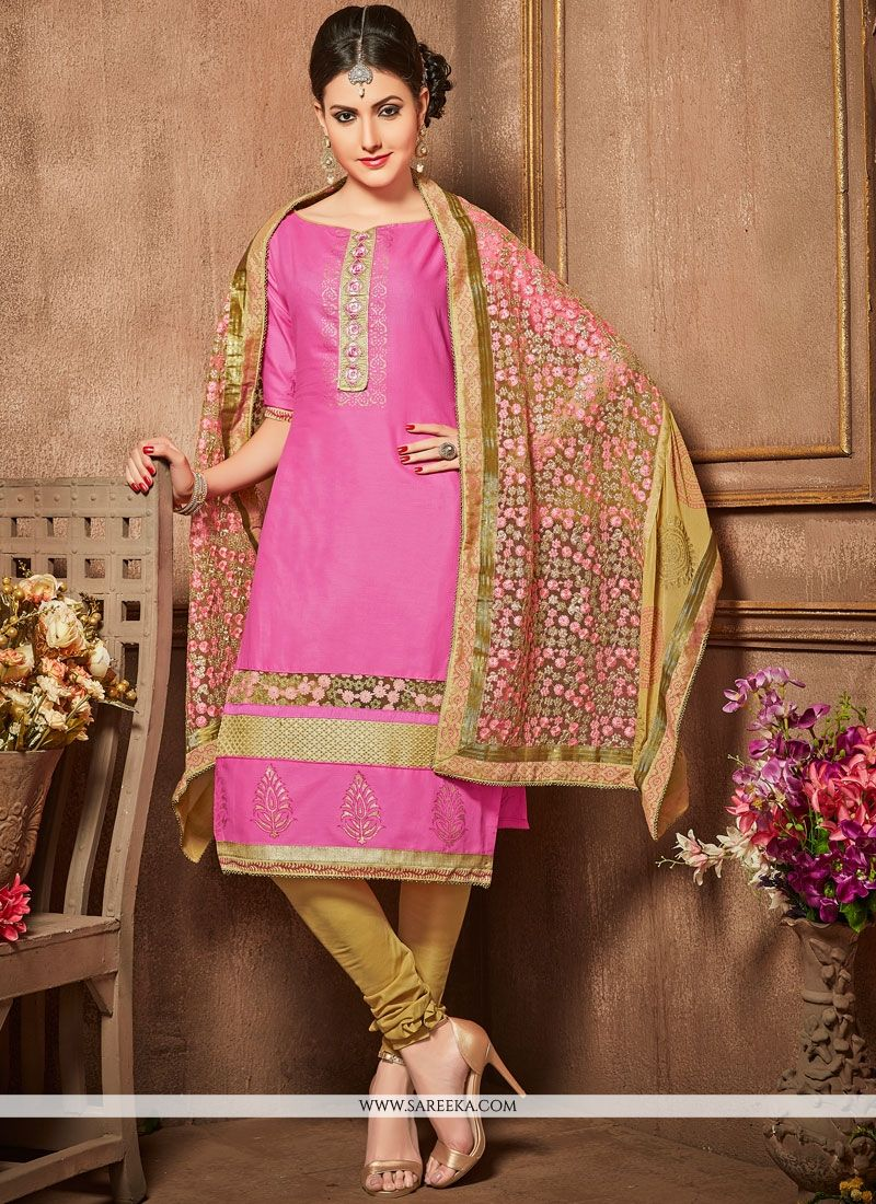 Embroidered Work Pink Churidar Designer Suit