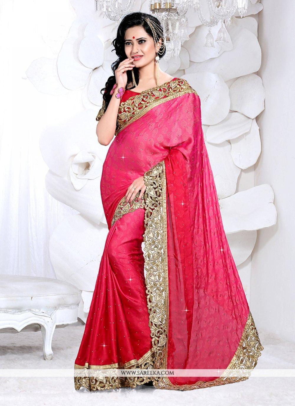 Faux Crepe Hot Pink Classic Designer Saree