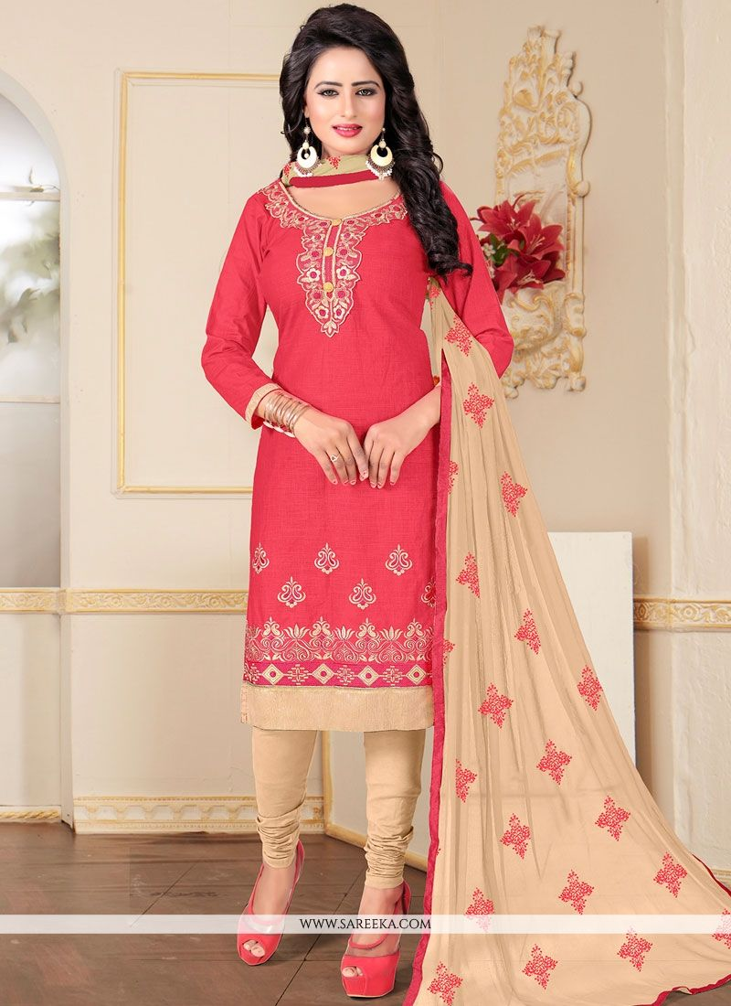 Resham Work Rose Pink Cotton   Churidar Suit