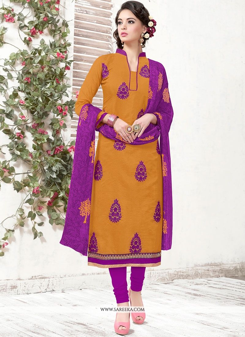 Chanderi Mustard Churidar Suit