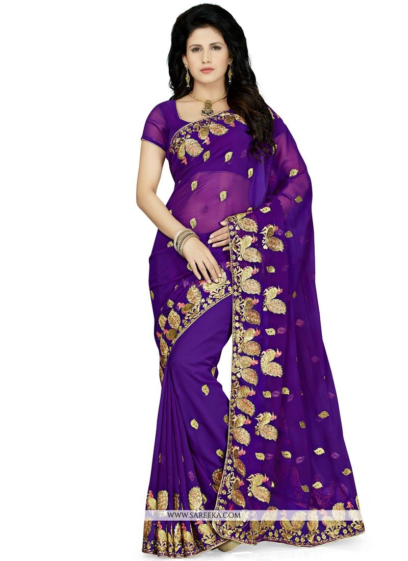 Faux Georgette Purple Designer Saree