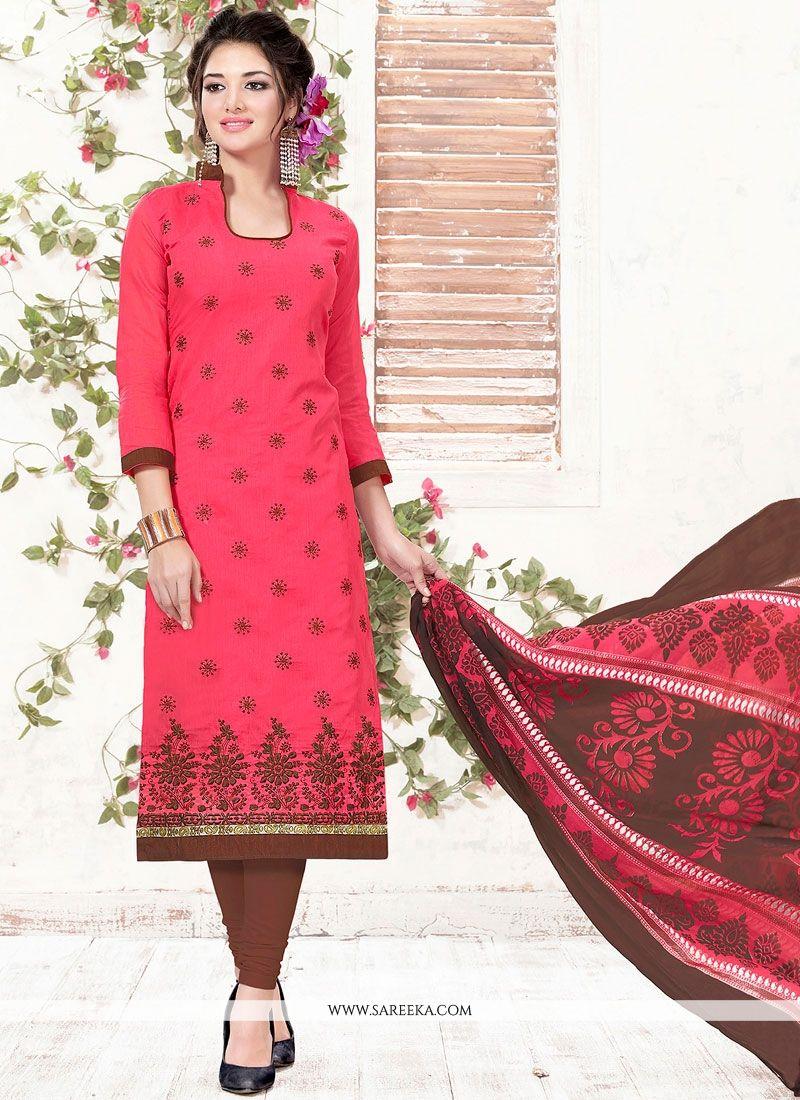 Embroidered Work Chanderi Pink Churidar Suit