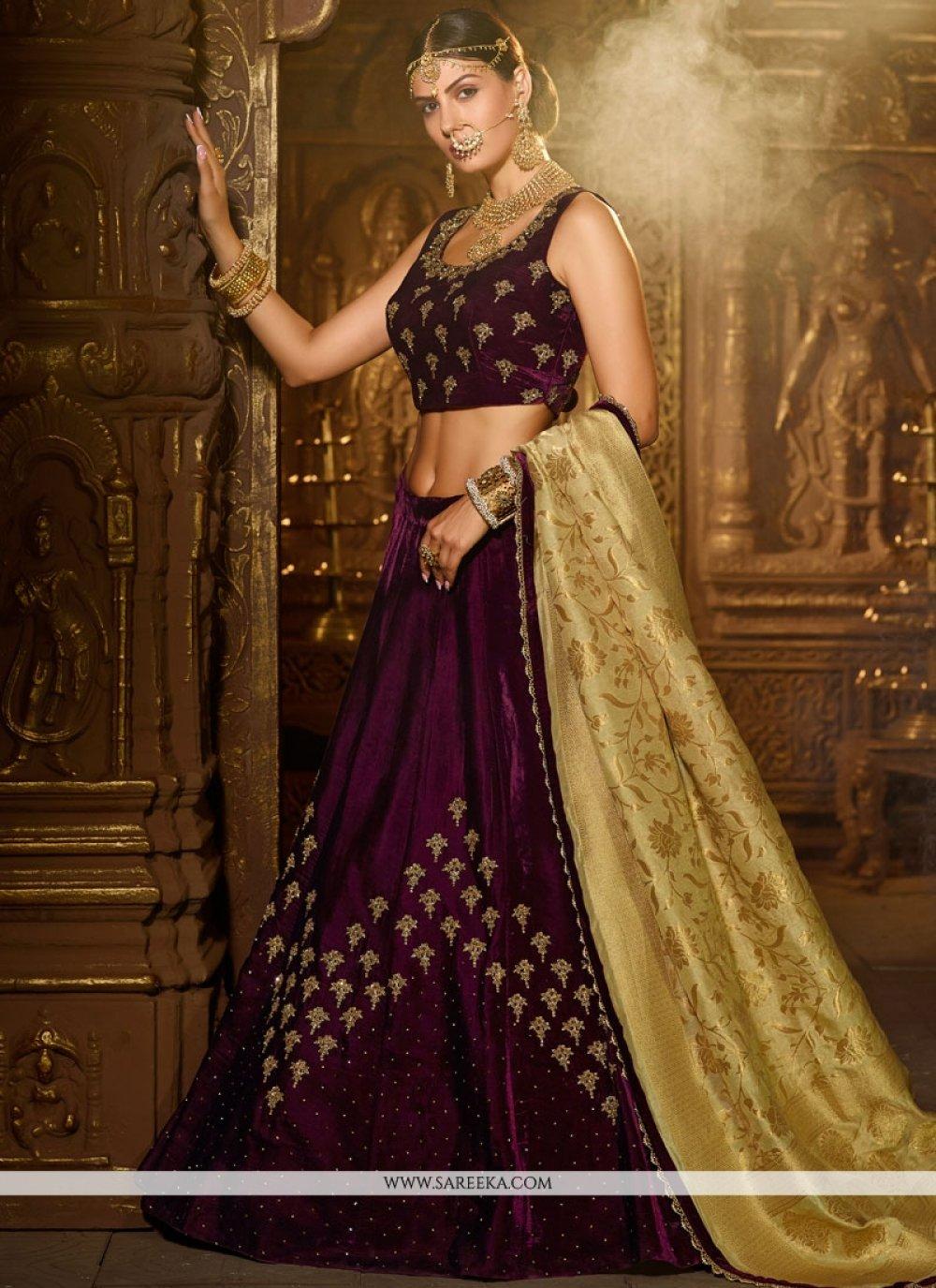Purple Cutdana Work Banarasi Silk A Line Lehenga Choli