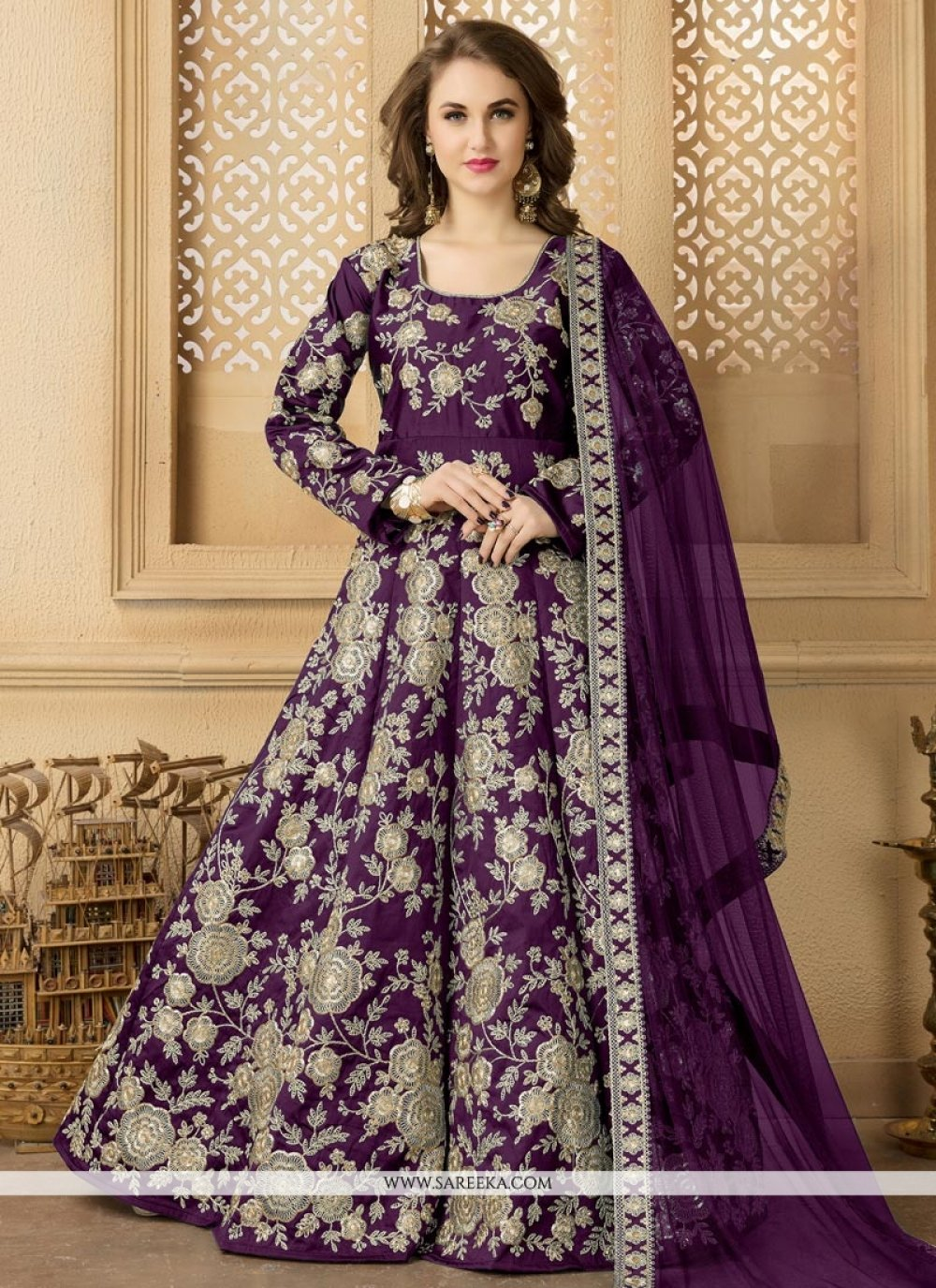 Purple Lace Work Floor Length Anarkali Suit
