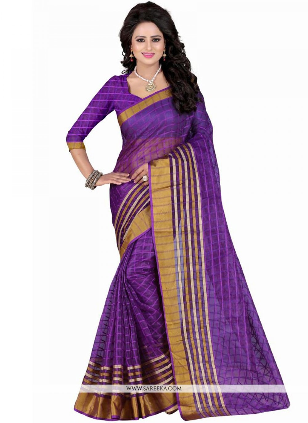 Purple Patch Border Work Polly Cotton Casual Saree