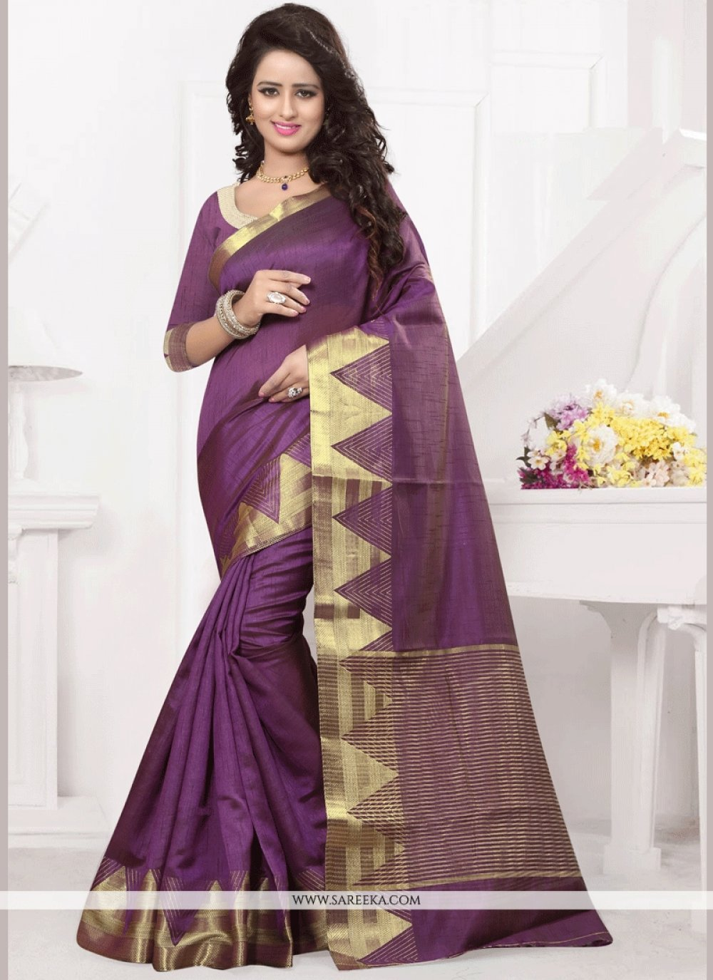 Purple woven Work Traditional Designer Saree