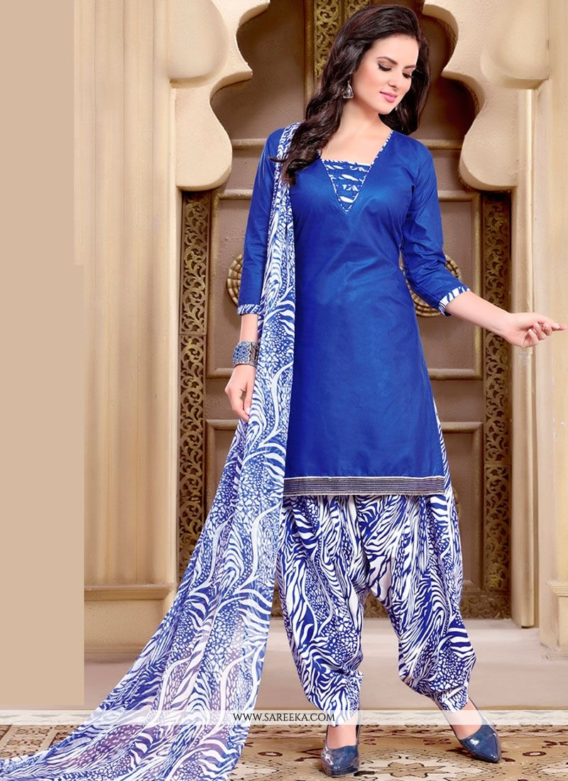 Radiant Cotton   Blue Punjabi Suit