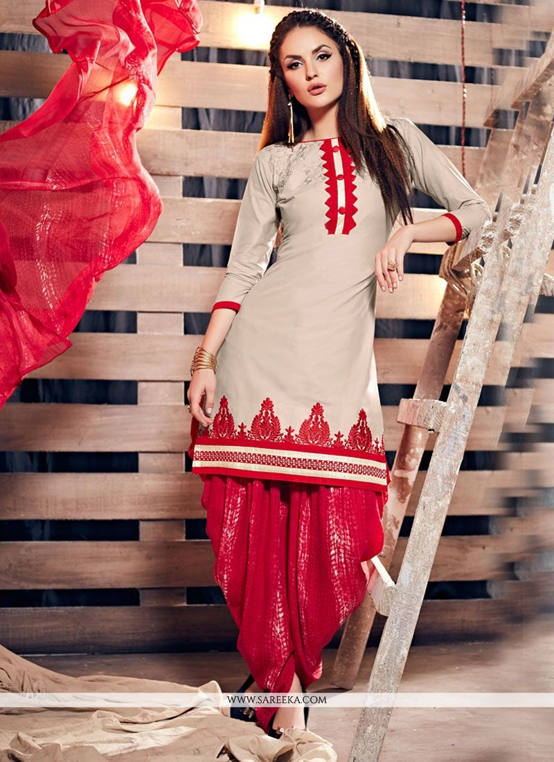 be902c93e1 Buy Cotton Cream and Red Punjabi Suit Online : USA, UK -