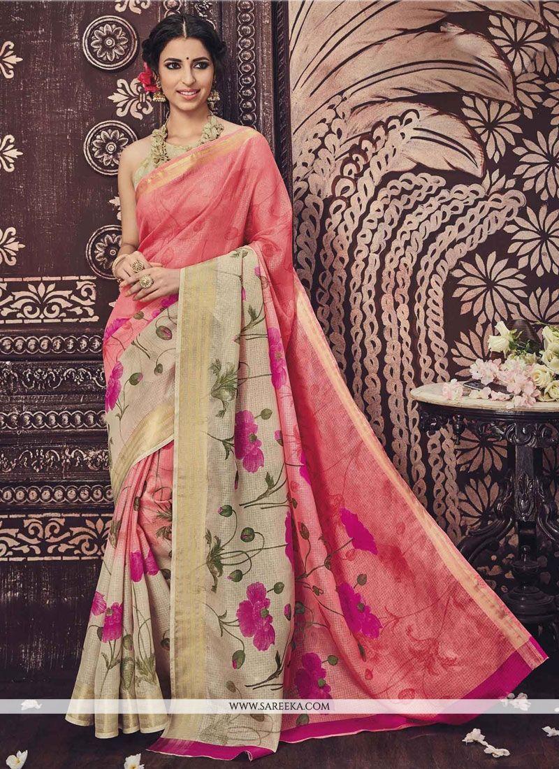 Radiant Print Work Casual Saree