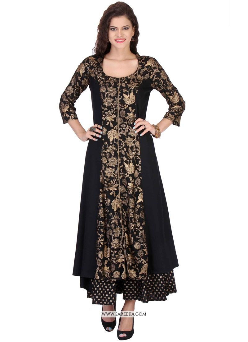 Print Work Black Rayon Party Wear Kurti