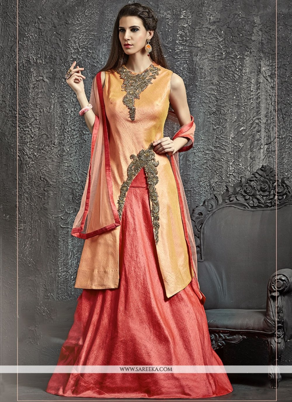 Raw Silk Orange and Pink Cutdana Work Lehenga Choli
