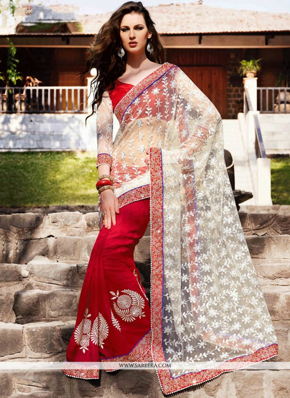 Red and White Embroidered Work Faux Georgette Designer Half N Half Saree