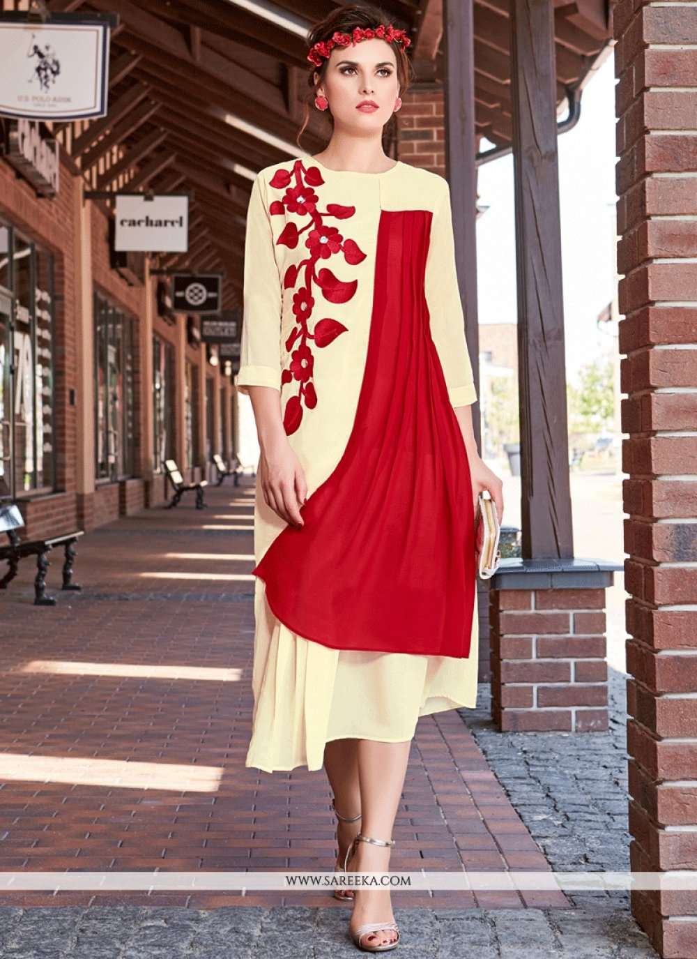 Red and White Embroidered Work Faux Georgette Party Wear Kurti