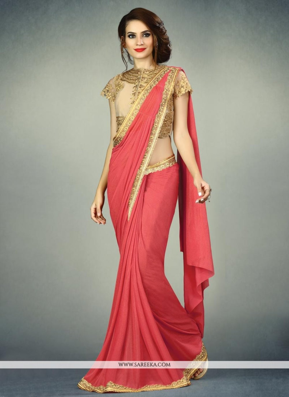 Red Embroidered Work Fancy Fabric Classic Designer Saree