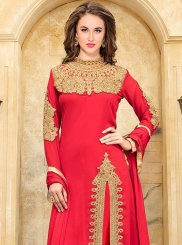 Red Embroidered Work Faux Georgette Designer Suit