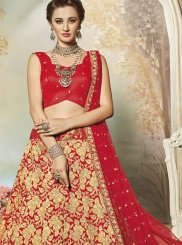 Red Lace Work Art Silk Lehenga Choli