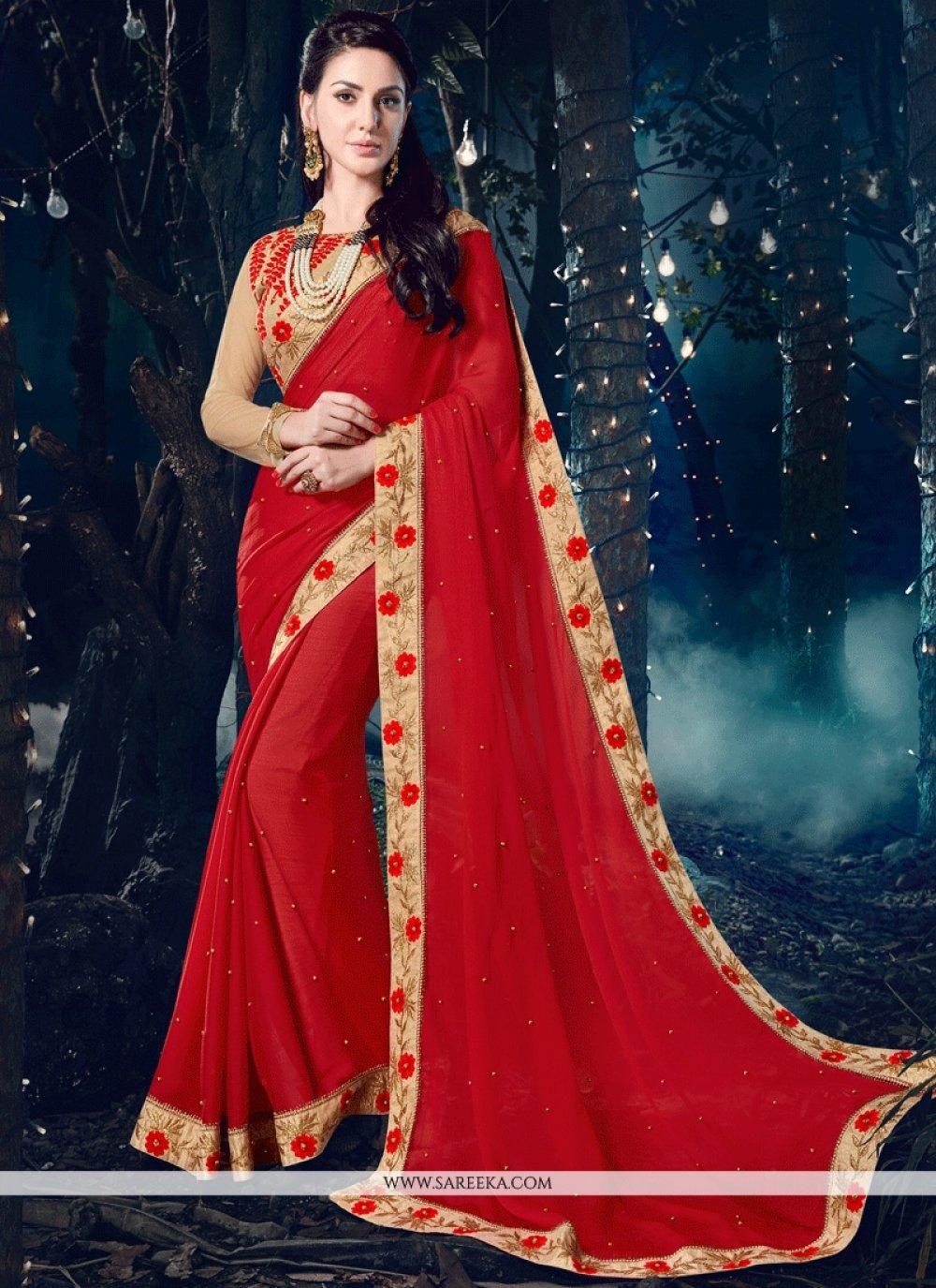 Red Patch Border Work Faux Chiffon Classic Designer Saree