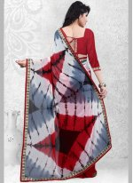 Red Print Work Casual Saree