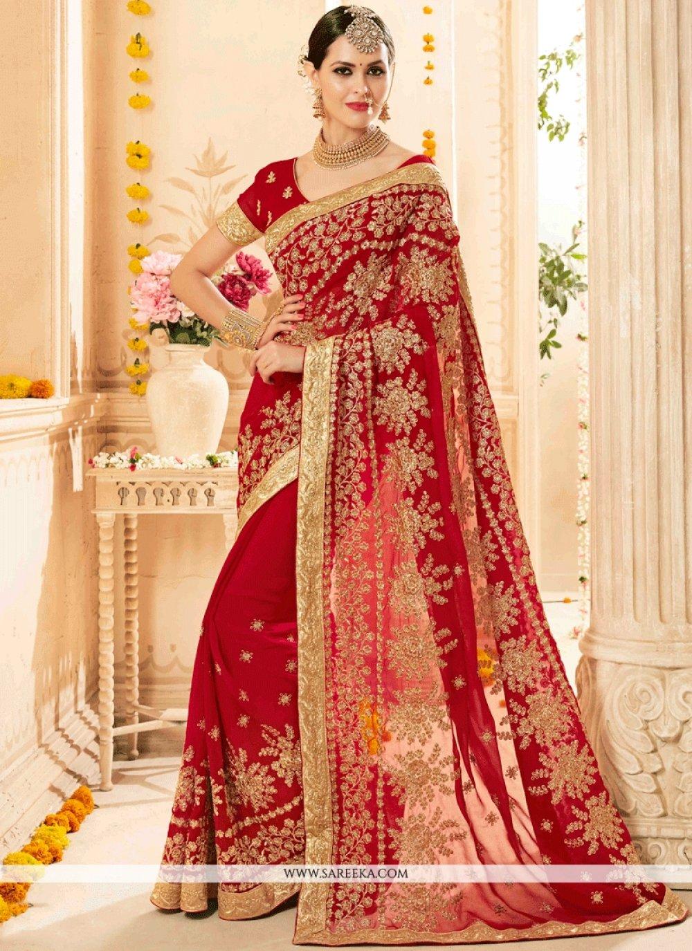 Red Zari Work Classic Designer Saree