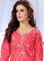 Cotton   Pink Embroidered Work Churidar Suit
