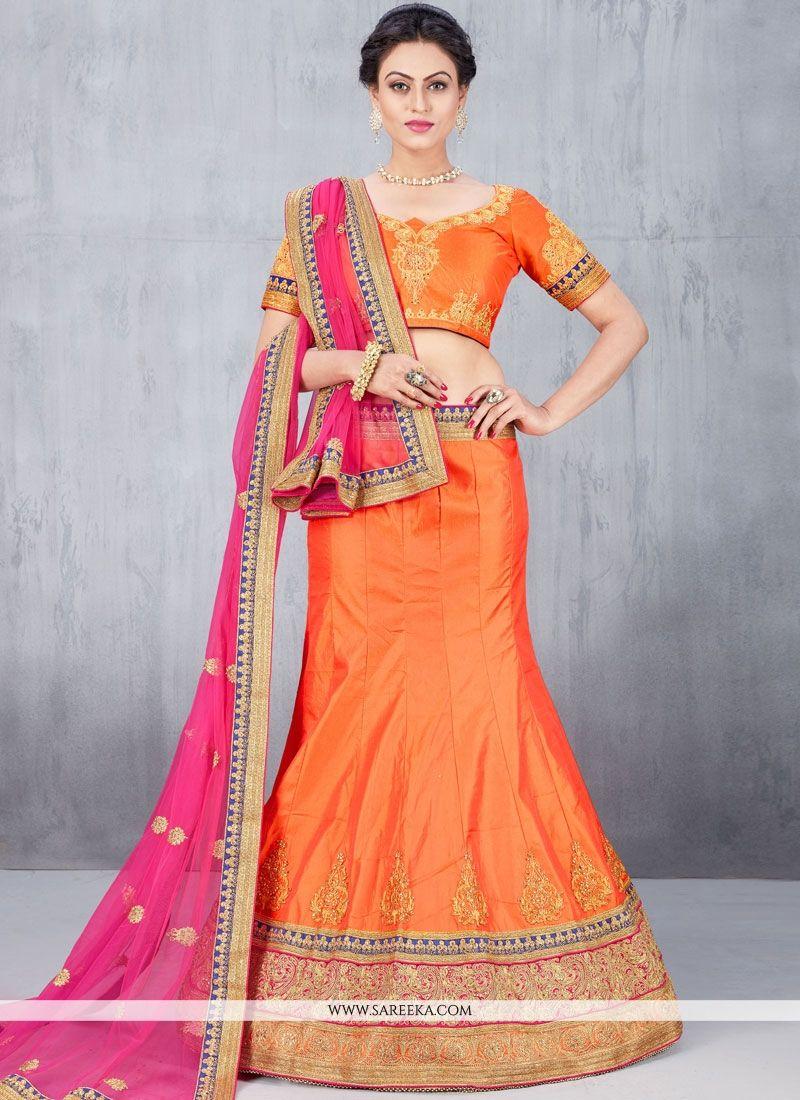 Art Silk Orange Lehenga Choli