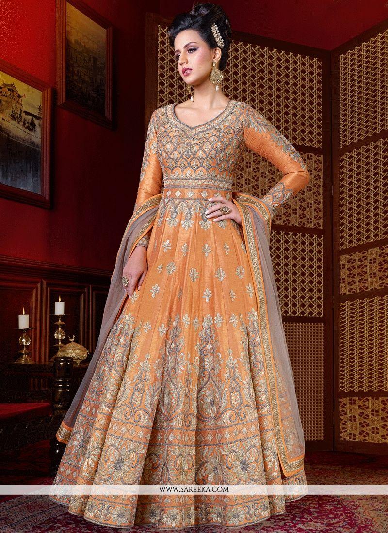 Buy orange floor length anarkali suit online malaysia for Floor length anarkalis