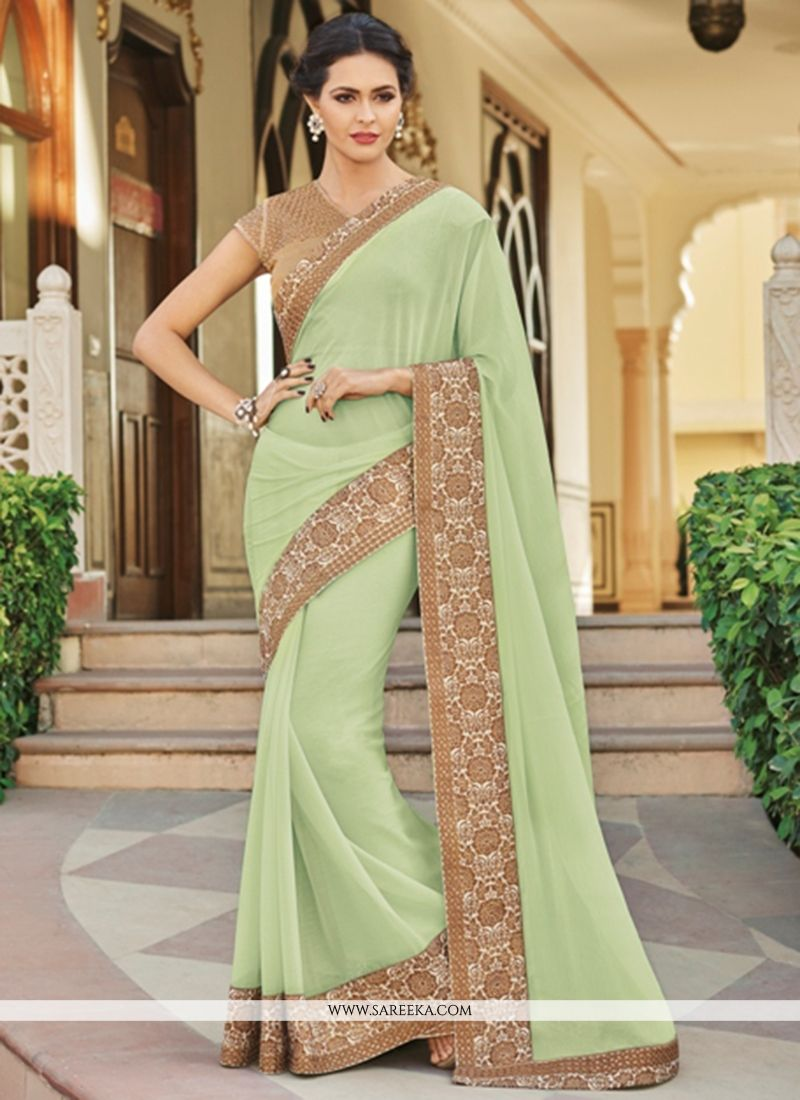 Faux Georgette Sea Green Saree
