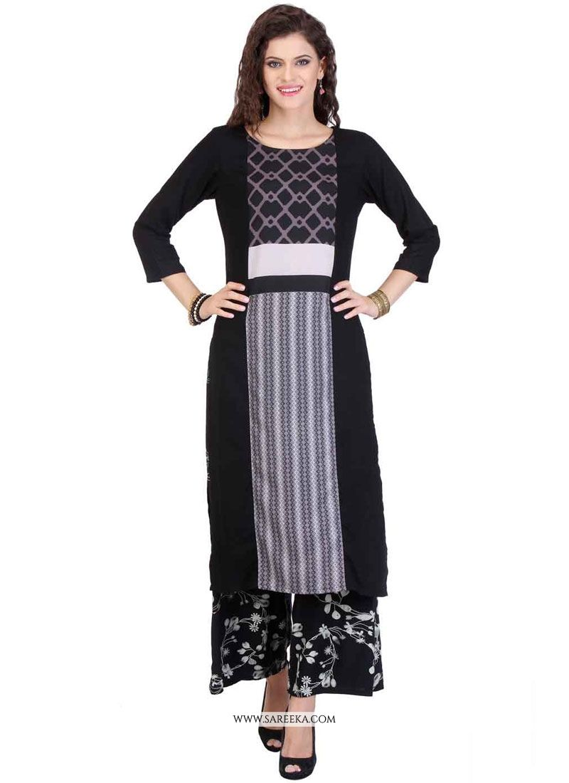 Black Print Work Rayon Party Wear Kurti