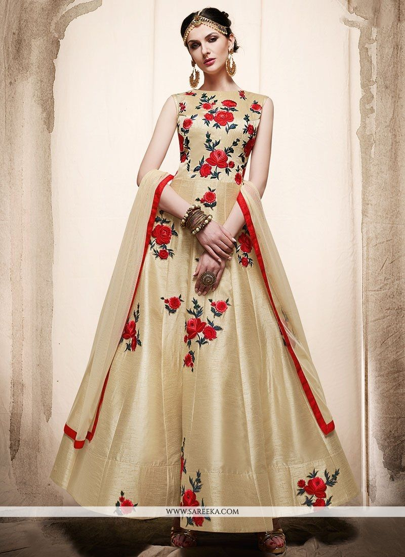 Resham Art Silk Floor Length Anarkali Suit in Cream