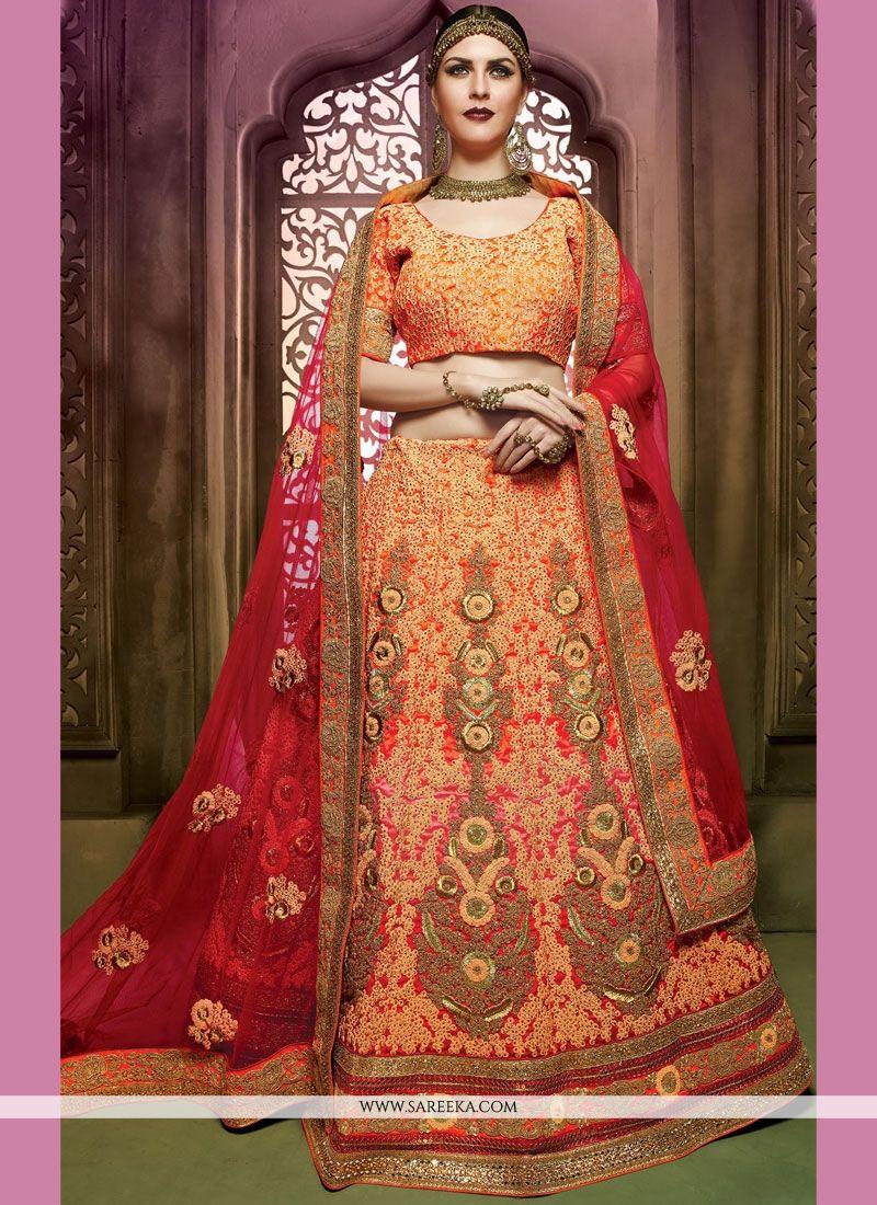 3c3ba7a0c7 Buy Resham Art Silk Lehenga Choli in Hot Pink and Orange Online : India -