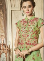 Resham Art Silk Lehenga Choli in Hot Pink and Sea Green