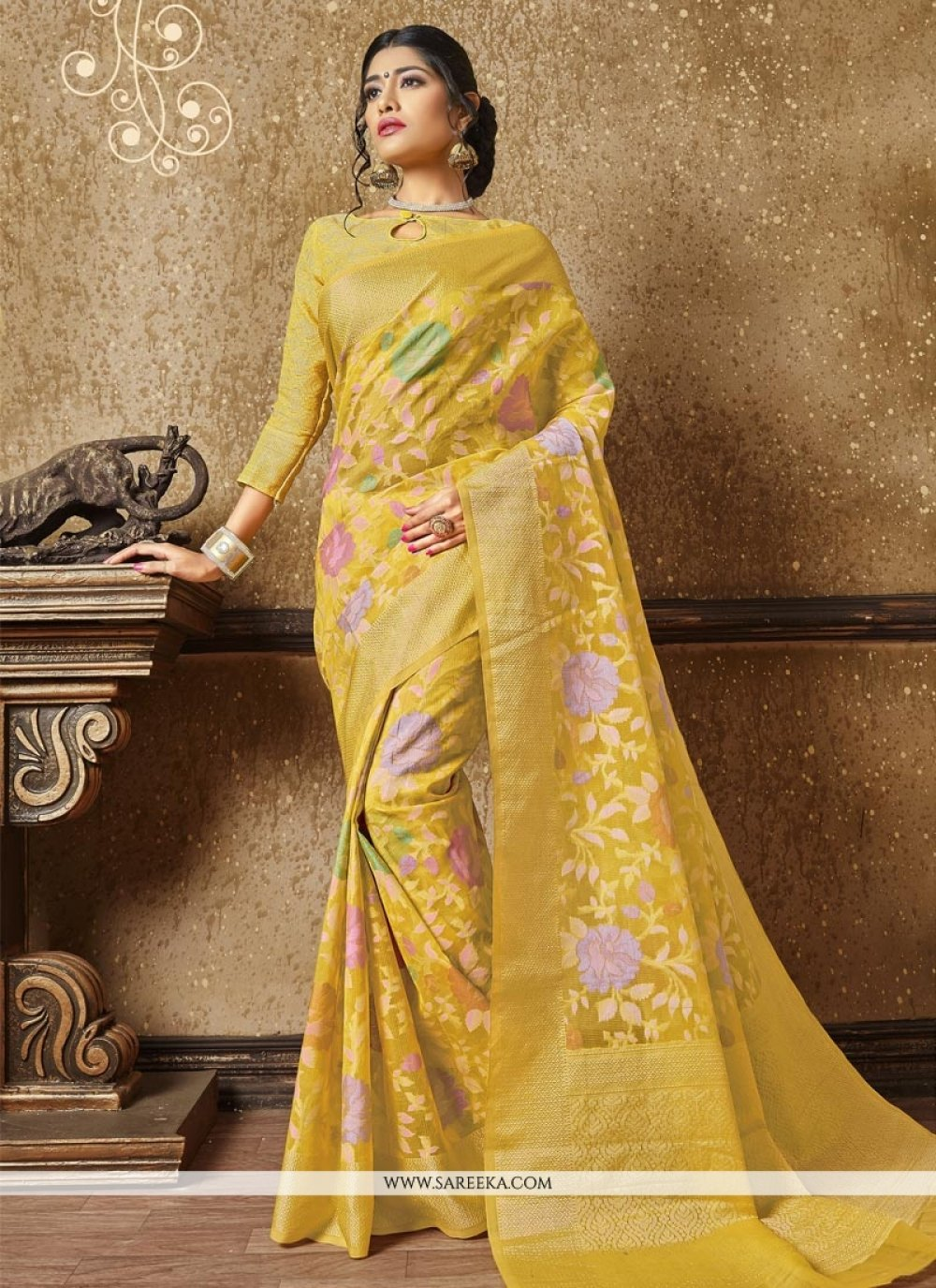 Resham Banarasi Silk Traditional Designer Saree in Yellow