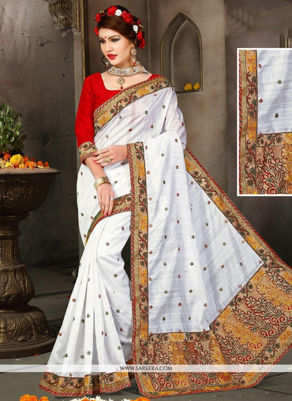 Resham Bhagalpuri Silk Designer Traditional Saree in White