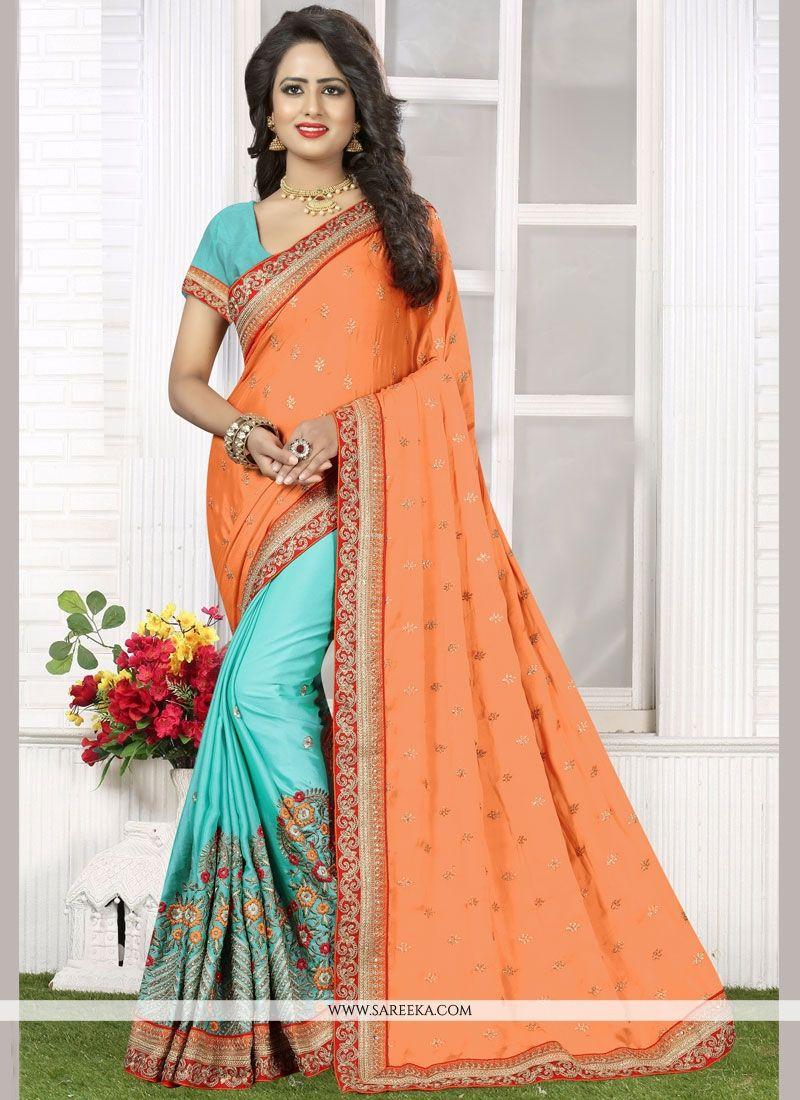Resham Crepe Silk Half N Half Designer Saree in Peach and Turquoise