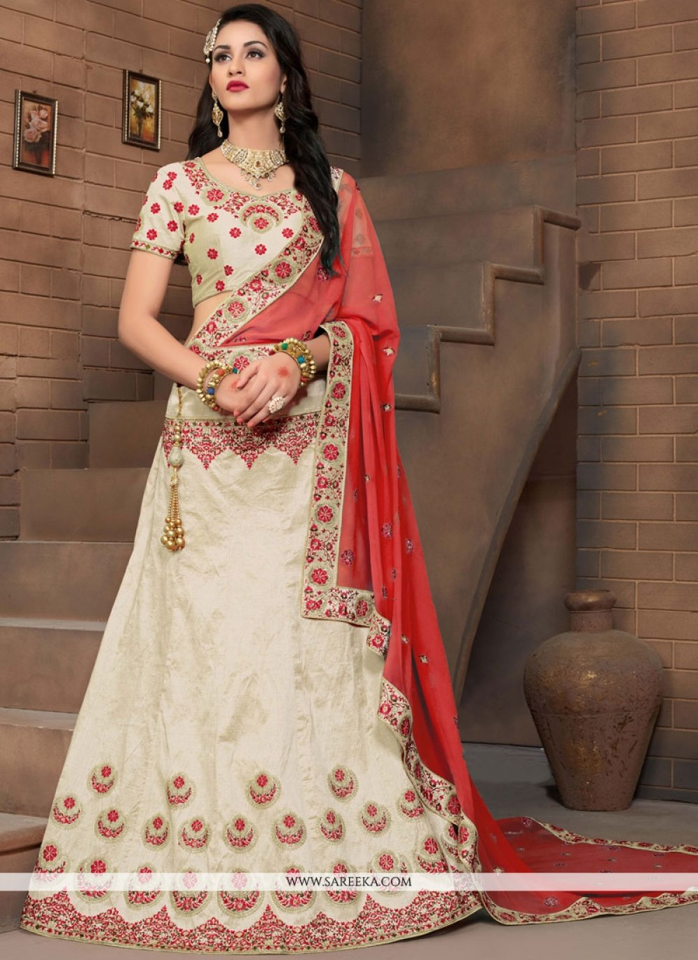 Resham Work Art Silk Lehenga Choli