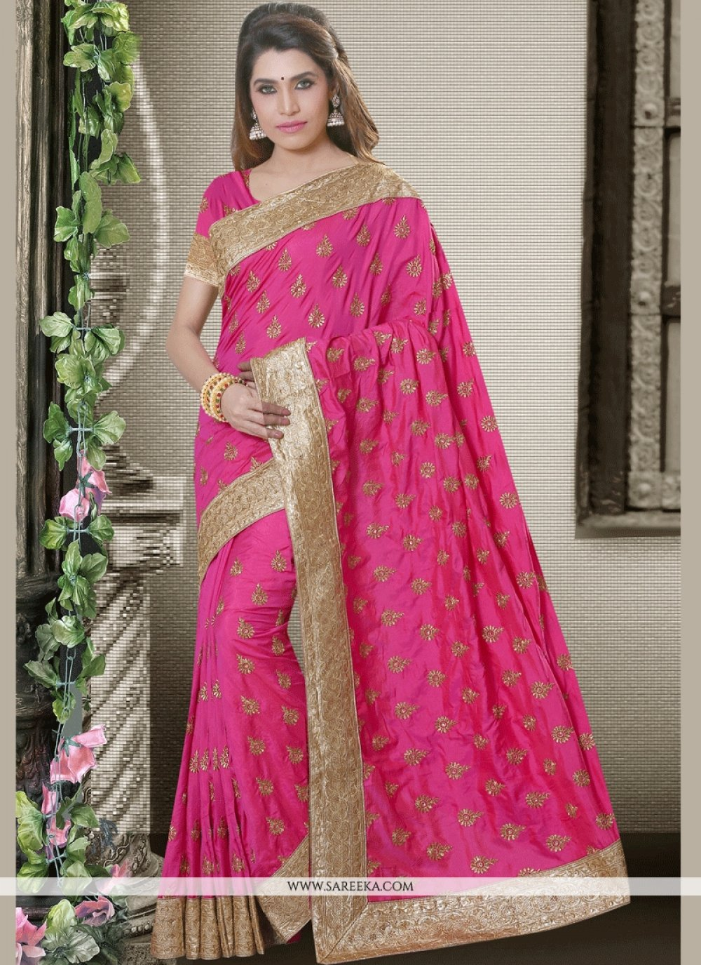 Resham Work Art Silk Traditional  Saree