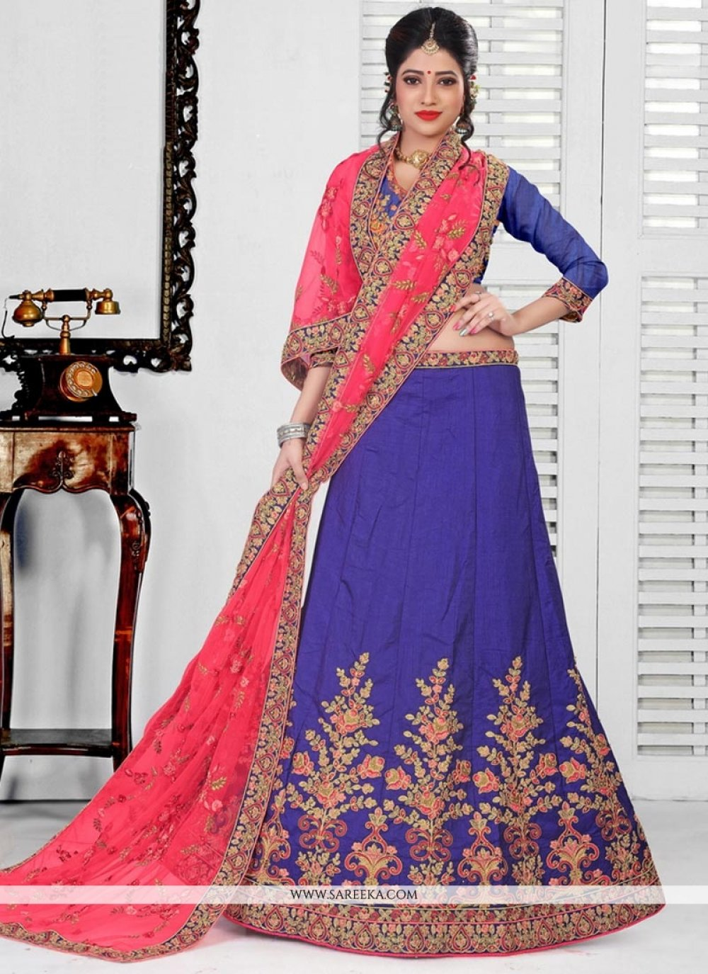 Resham Work Blue Art Silk Lehenga Choli