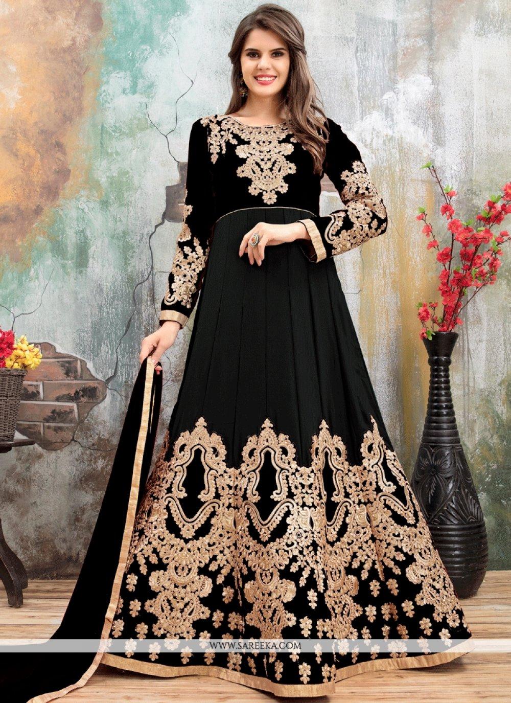 Resham Work Faux Georgette Black Floor Length Anarkali Suit