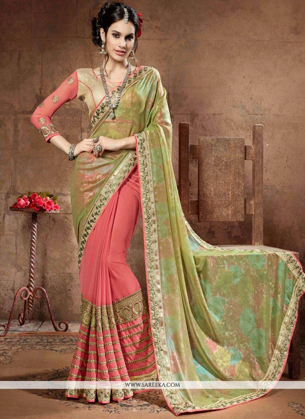 Resham Work Green and Peach Designer Half N Half Saree