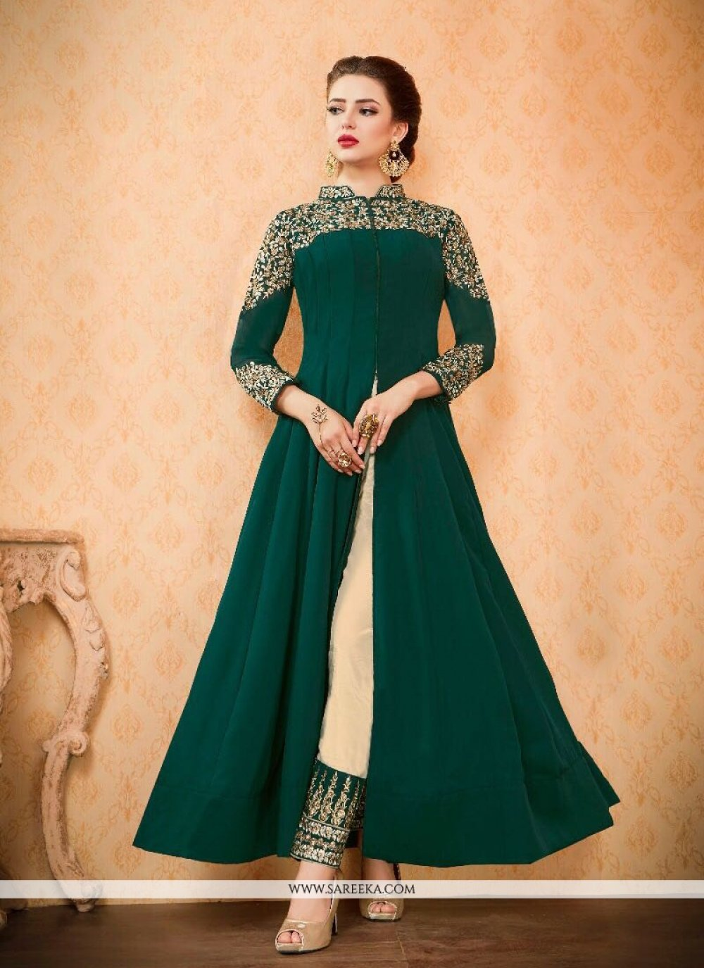 Resham Work Green Pant Style Suit