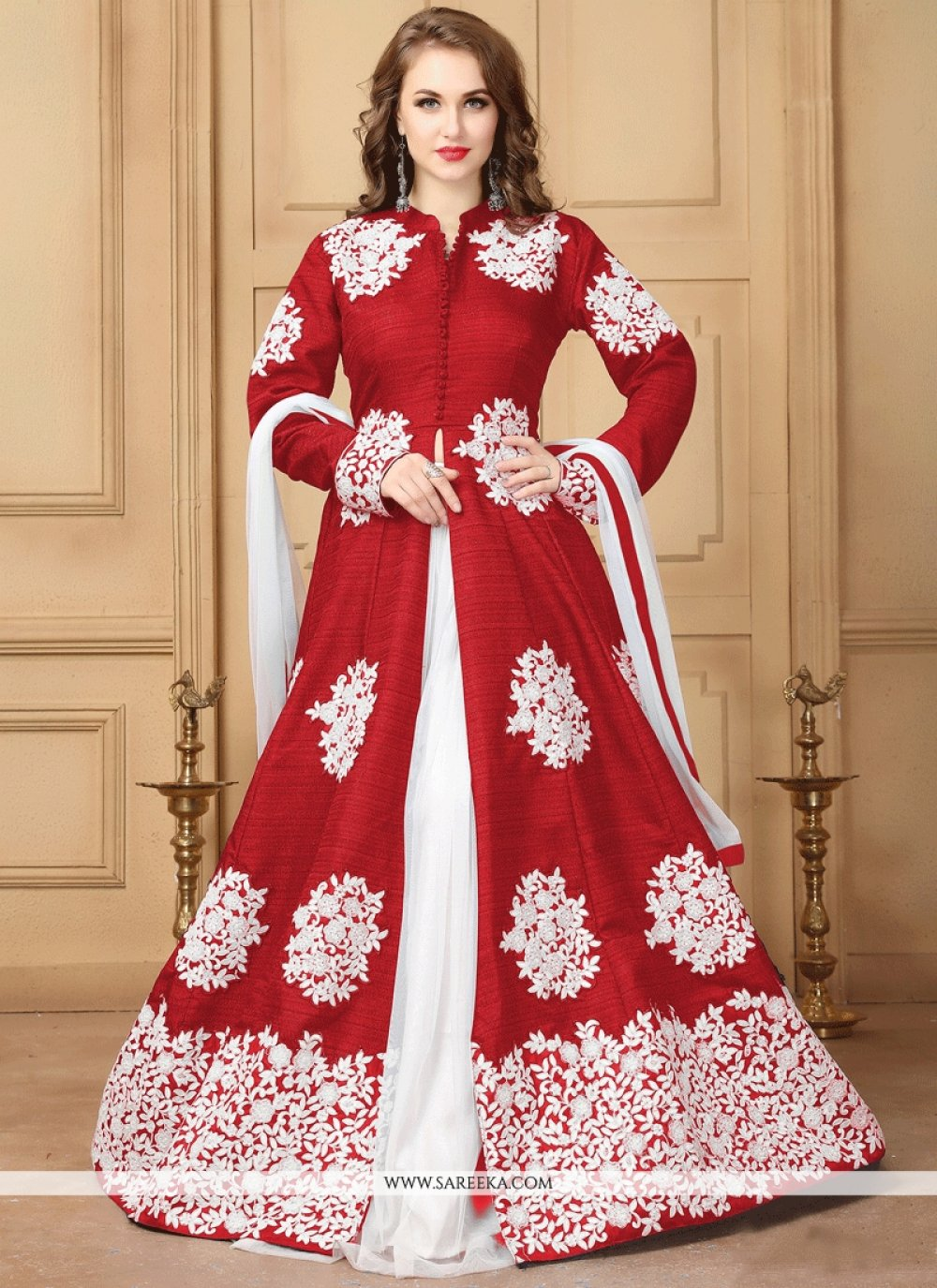 Resham Work Maroon and White Long Choli Lehenga