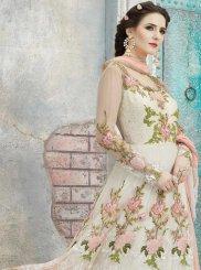 Resham Work Net Off White and Salmon Floor Length Anarkali Suit