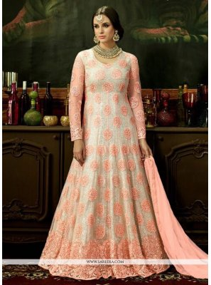 Resham Work Net Pink and White Floor Length Anarkali Suit