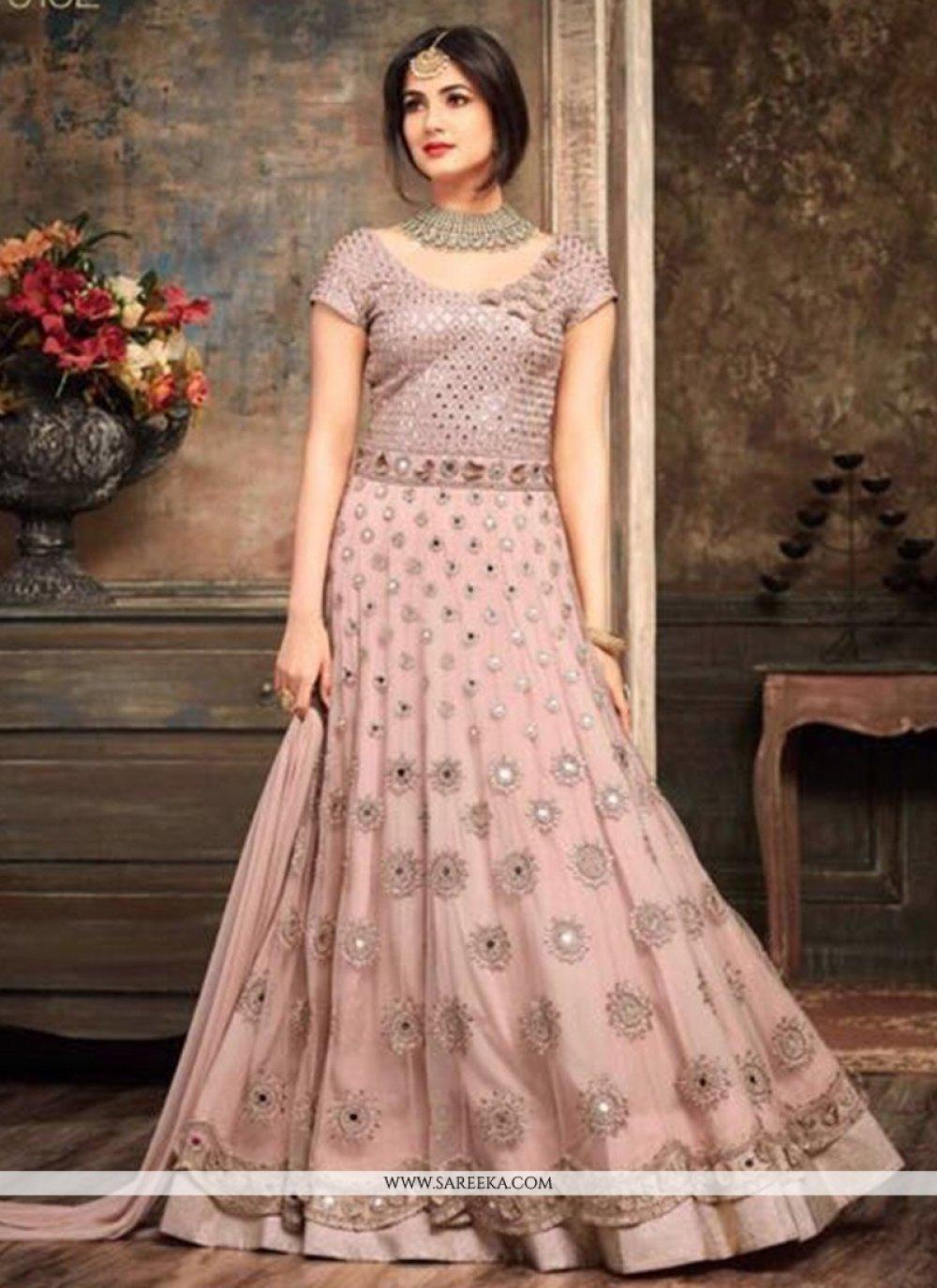 Resham Work Pink Net Floor Length Anarkali Suit