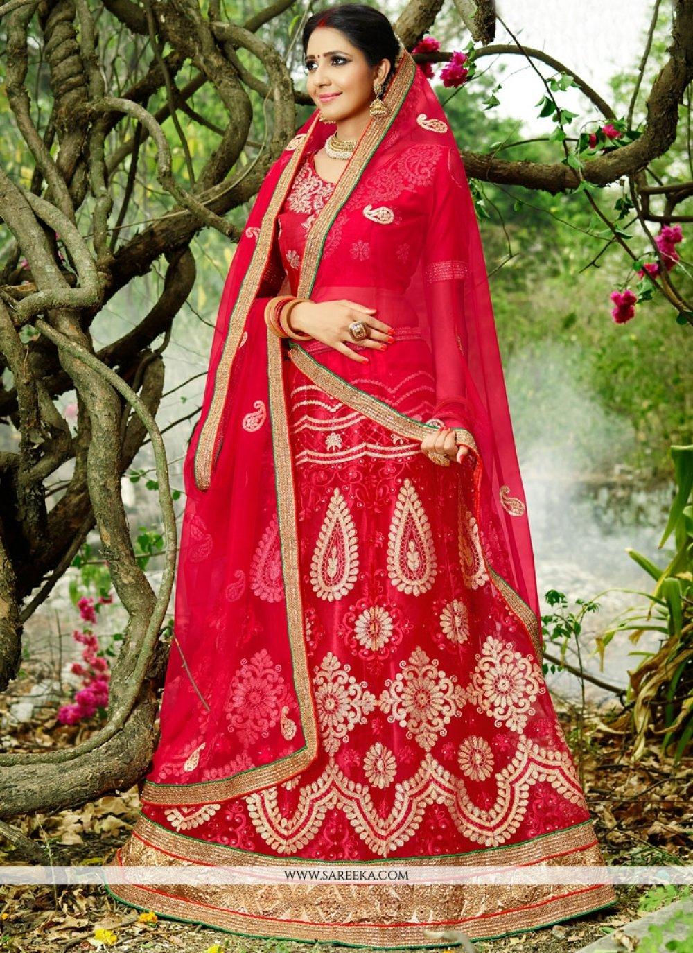 Resham Work Red Lehenga Choli