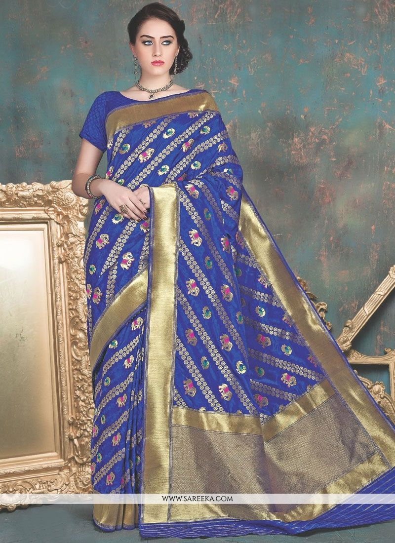 Banarasi Silk Blue Designer Traditional Saree