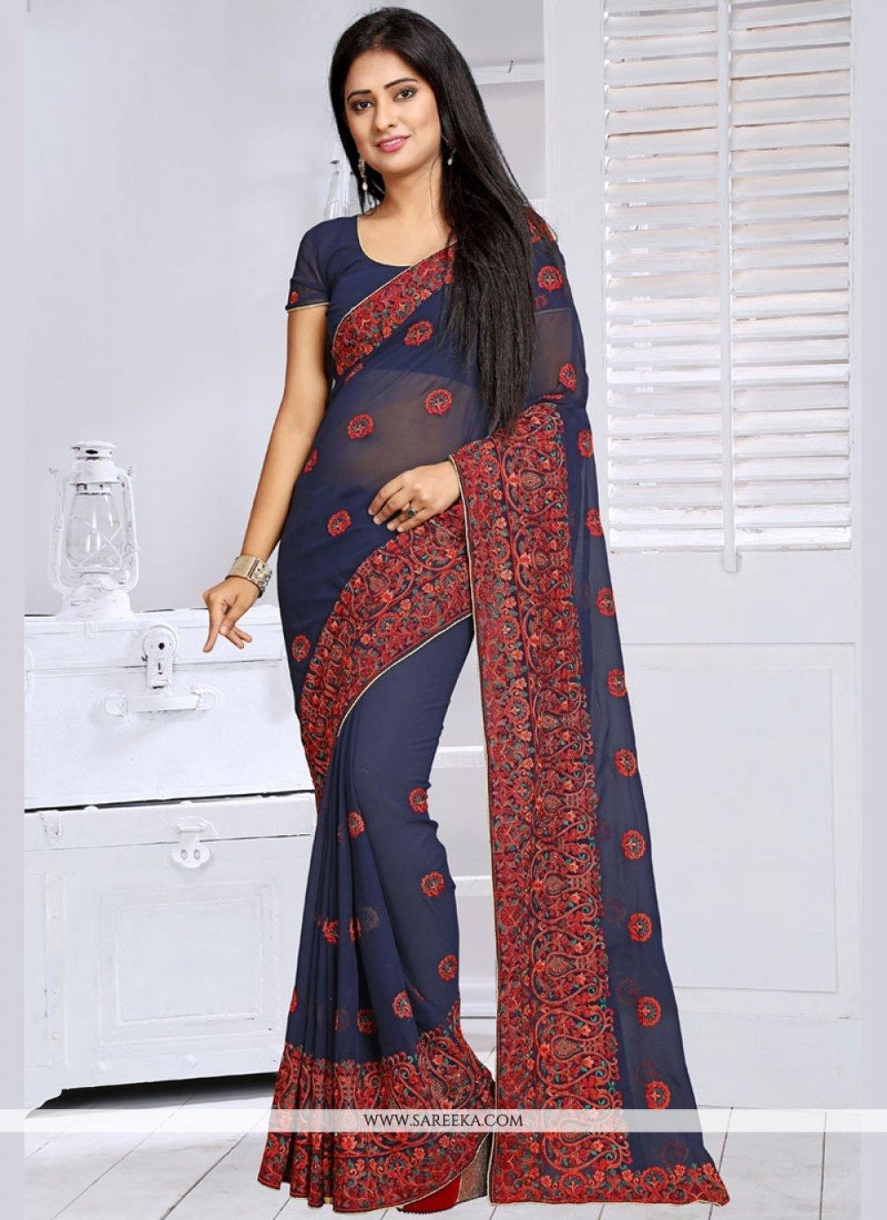 Navy Blue Designer Saree